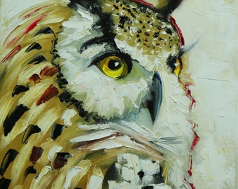 Owl painting 131 12x16 inch original oil painting by Roz