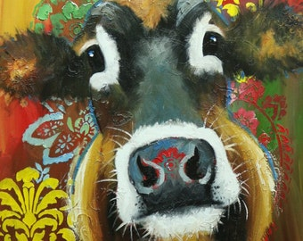 Cow painting 1188 24x30 inch animal original oil painting by Roz
