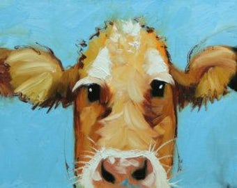 Cows painting animals 524  12x36 inch original portrait oil painting by Roz