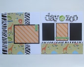 At The Zoo Premade or  DIY Kit,12x12 Scrapbook Layout, Scrapbook Page Kit