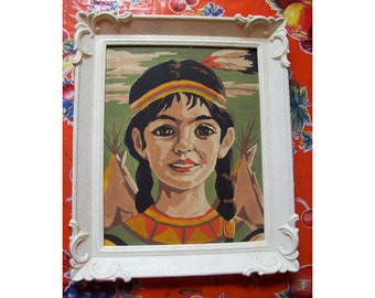 vintage paint by number 1950's indian girl retro kitsch native american painting