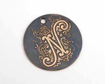 Copper N charm, round flat etched copper initial focal point, 25mm