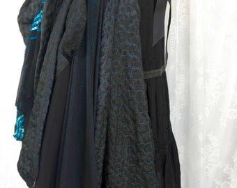 Teal and black scrap bustle - Burning desert Man bustle skirt - steampunk utility bustle - Victorian costume bustle skirt -no size free size