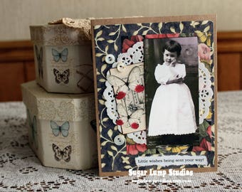 Little Wishes Being Sent Your Way Happy Birthday  card,handmade card,collage card,