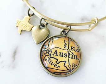 Austin Map Charm Bangle Bracelet - Personalized Map Jewelry - Texas Love - State Pride - Stacked Bangle - SXSW - Keep Austin Weird