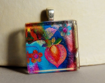 Abstract Floral Glass Tile Pendant #4 - Modern Floral Pendant
