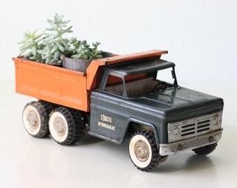 Vintage Toy Truck, Structo, Hydraulic Dump Truck, Orange and Blue