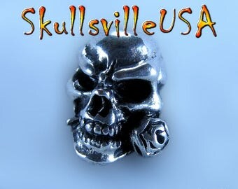 Rosey - Rose In Mouth Skull Beads for Paracord, Key Fobs, European Bracelets, More!