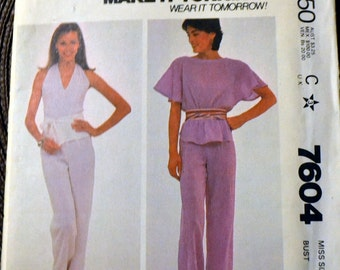 Vintage Sewing Pattern McCall's 7604 80's Halter Top and Pants Bust 34 Complete Uncut FF