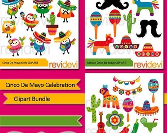 50% OFF SALE Clipart Cinco De Mayo Celebration - Clip art Bundle - Cinco de mayo digital clipart