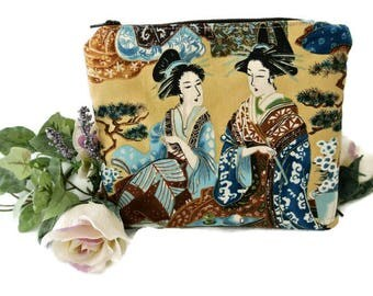 Geisha Print Pouch , Small Zipped Purse Organizer  , Oriental Cosmetic Case , Makeup Bag Storage , Gift for Her