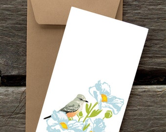 Say's Phoebe and Matilija Poppy: Pack of 8 eco-friendly flat cards