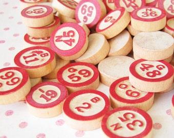 Artsy Supply...Vintage Bingo & Lotto Wooden Game Numbers