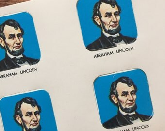 Vintage Patriotic Abraham Lincoln Gummed Seals (Stickers, Decals) - Book of 36 Seals - Holiday, 4th of July Seals, President Seals