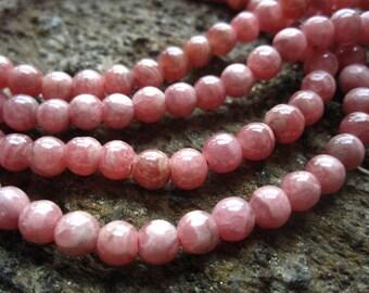 Rhodochrosite Beads 5mm rounds semiprecious gemstones 10 beads