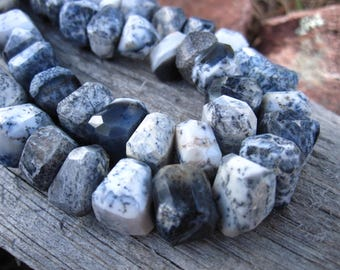 Dendritic Opal Faceted Nuggets of Unusual semiprecious gemstones - 3 3/4 inches