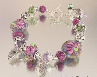 Lampwork Bracelet - Lampwork Purple Iris Sterling Silver Bead Bracelet - KTBL