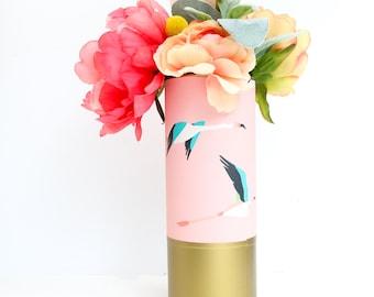 Flamingo Pattern Wrapped Flower Vase -Pink Flamingos with Matte Gold Bottom Flower Vase