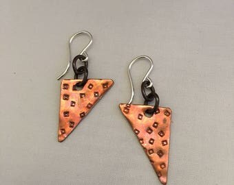Hand cut and stamped copper triangle dangle earrings with sterling silver earwires