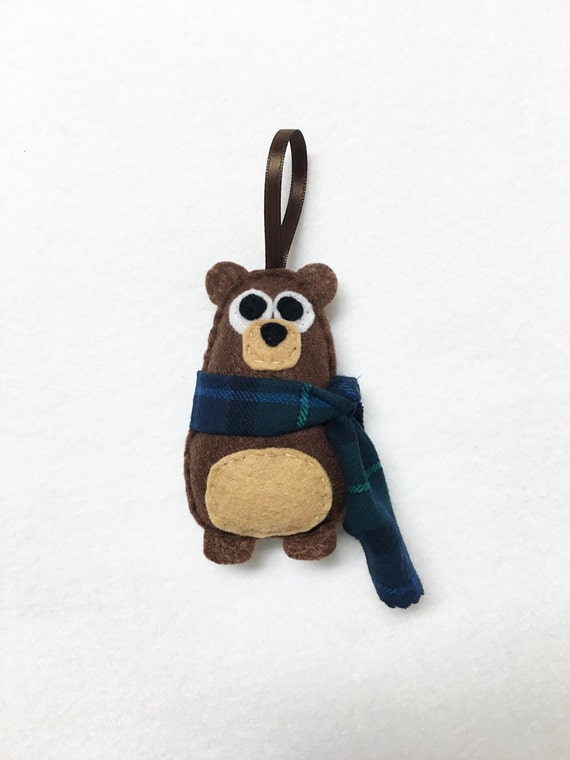 Bear Ornament, Christmas Ornament, Nester the Bear, Felt Ornament, Forest Animal, Woodland Decoration