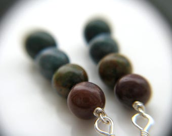 Bloodstone Earrings . Anxiety Relief Jewelry . Stick Earrings . Green Gemstone Earrings . Natural Stone Earrings Sterling - Aries Collection