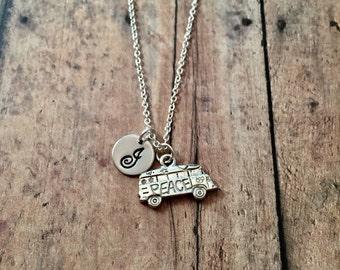 Hippie van initial necklace- vintage van jewelry, travel bus necklace, gift for traveler, hippie jewelry, bus camper jewelry, bus necklace