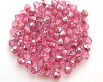 LAST 40 Czech Fire Polish Glass Beads Sweet PINK MIRROR 4mm