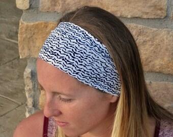 Navy and White Sport Headband / Running Headband / Bird Pattern Stretch Headband/ Comfortable Hairband/ Best Selling Headband
