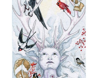 Queen of Zephyrs - Birds and Antler Girl 5x7 print from The Stolen Child Tarot