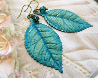 Leaf earrings gift for her under 30 Blue green patina turquoise jewelry