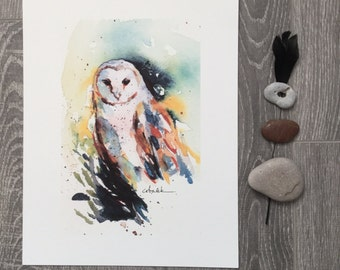 Barn Owl watercolour painting PRINT