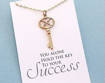 SALE - Graduation Gifts | Skeleton Key Necklace, Graduation Gifts, Student Gifts, Class of 2017, Graduation Gift, College Student Gifts | G0