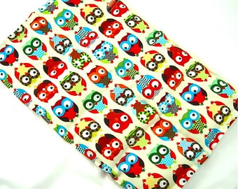 Heat Pack: Owls/Bright Fabric- Chronic Back Pain Relief Heat pack  Ex-Large Back Pack Hot/Cold Therapy Organic,Gift Idea, Massage Wellness