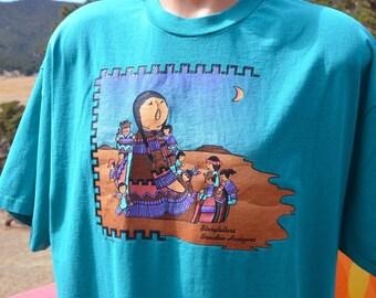 vintage 90s tee shirt STORYTELLERS broaden horizons native american indian teal t-shirt XXL 2xl xl