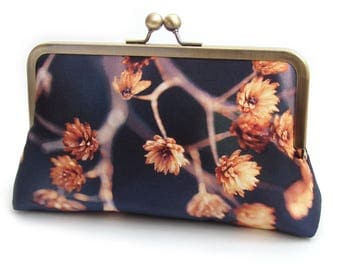 Golden seedheads clutch bag, blue and orange silk purse, woodland wedding, bridesmaid gift