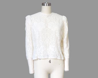 Cream Lace Puff Sleeve Cropped Shirt / Sheer with Back Button Up