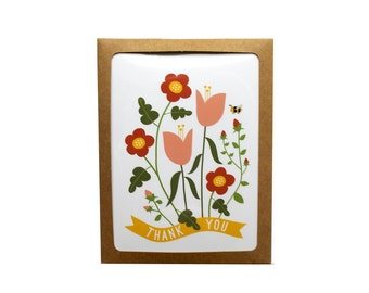 Set of 10 Thank You Flowers Greeting Card illustration floral stationery