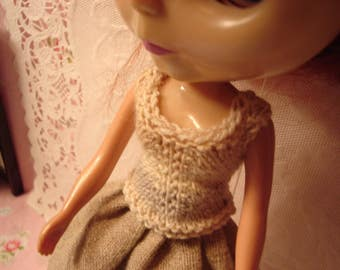 Blythe Pull-on Top Beige,Ivory,Gray Stripes for Pullip Too!