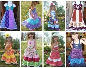 Grateful Girls Dress, Hippie Patchwork Spinner Dress, Festival Dress,girls sun dress,dancing bear dress,custom girls twirling dress