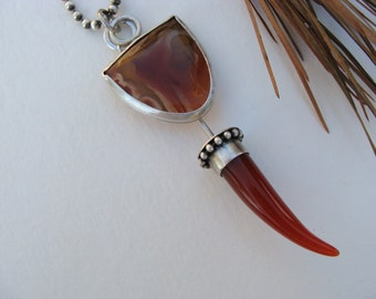 Brazilian and Red Agate Artisan Oxidized Necklace
