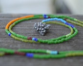 stories of the green and growing - sterling silver succulent, botanical, seed bead necklace - bead strand