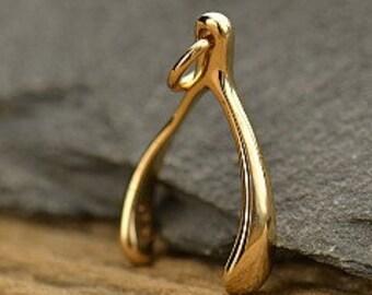 bronze wishbone charm, bronze wishes charm, golden bronze good luck charm, wishbone charm, talisman, wishbone good luck charm