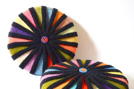Vintage 60s 70s Hand Knit Circular Pillows
