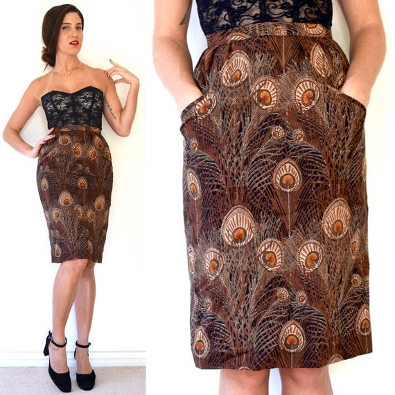 SPRING SALE/ 20% off Vintage 70s 80s Peacock Print High Waisted Hourglass Silhouette Wool Pencil Skirt (size xs, small)