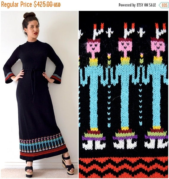 JANUARY SALE / 20% off Vintage 60s 70s Yvonne Originals Native American Yei People Knit Bell Sleeve Sweater Dress (size small, medium)