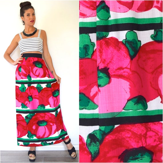 Vintage 60s 70s High Waisted Bold Floral Print Linen Maxi Skirt (size xs, small)