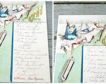 Vintage Antique  1919 French Menu /Menu sheet / Sport thema Le patinage