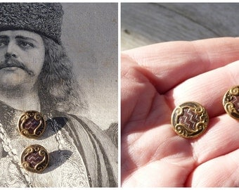 Vintage Antique 1890 French Victorian  small  buttons enameled gilted  set of 2