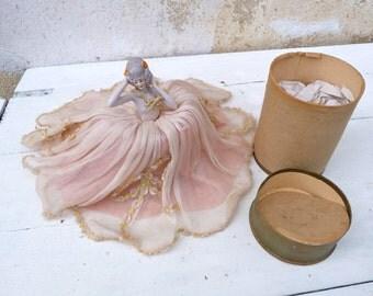Vintage Antique  French Art deco 1920s boudoir half doll /porcelaine doll/powder box /sweets box
