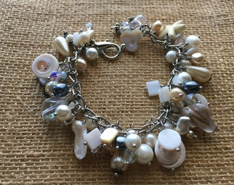 Charm bracelets, beaded bracelets, beach wedding,bridal jewelry, FREE SHIPPING